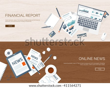 Vector illustration. Flat backgrounds set. Online news. Newsletter, information. Business, market. Financial report. - stock vector