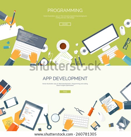 Vector illustration. Flat backgrounds set. Programming and coding online. Web courses. Internet and web design. App development. - stock vector