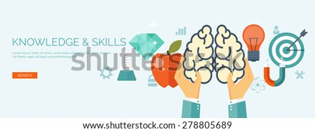 Vector illustration. Flat brainstorm background. Smart solutions and business aims. New ideas. Brains. - stock vector