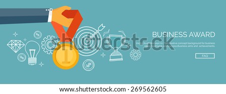 Vector illustration. Flat business concept background. Achievements and mission. Aims and new ideas. Smart solutions.  First place. Medal. - stock vector