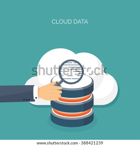Vector illustration. Flat cloud computing background. Data storage network technology. Multimedia content , web sites hosting. Memory, information transfer. - stock vector