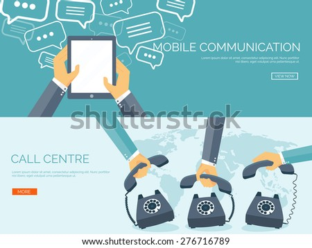Vector illustration. Flat communication background. Social network. Chatting. Call center. Telephone - stock vector