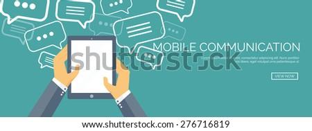 Vector illustration. Flat communication background. Social network. Chatting. Call center. Telephone - stock vector