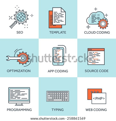 Vector illustration. Flat computing backgrounds set with icons and lines. Programming and coding. Web development and search. Search engine optimization. Innovation and technologies. Mobile app. - stock vector