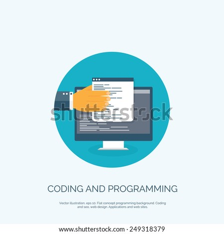 Vector illustration. Flat concept background, coding and programming. Search engine optimization. - stock vector