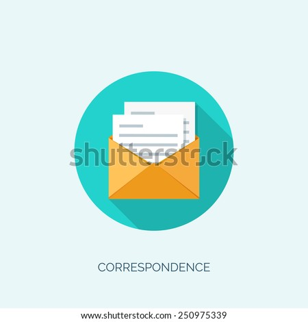 Vector illustration. Flat envelope. Emailing and global communication. Letter. Social network. - stock vector