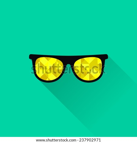 Vector illustration flat glasses with yellow lenses. - stock vector