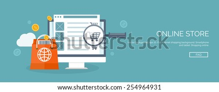 Vector illustration. Flat header. Internet shopping. Web store. Global communication and trading. Web business. E-commerce and money making. Internet banking. - stock vector