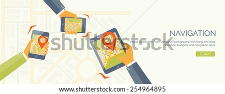 Vector illustration. Flat header. Navigation and traveling.  Map pointer and location finding. Web application. - stock vector