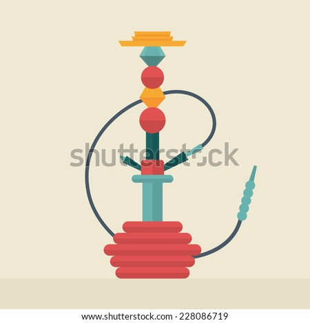 Vector illustration flat icon of hookah