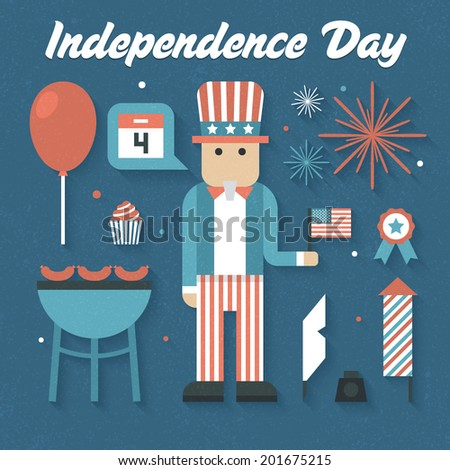 Vector illustration: Flat Icons Set of Independence Day - stock vector