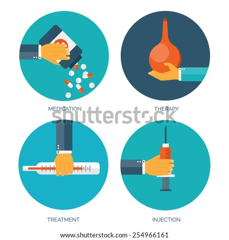 Vector illustration. Flat medical background. First aid and diagnostic. Medical research and therapy. Global healthcare. - stock vector