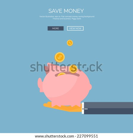 Vector illustration. Flat saving money concept background. Piggy bank and coins. - stock vector