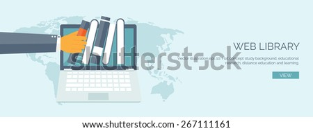 Vector illustration. Flat study background. Education and online courses, web tutorials, e-learning. Study and creative process. Power of knowledge. Video tutorials. - stock vector