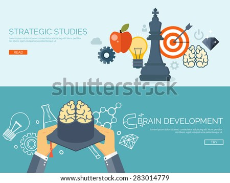 Vector illustration. Flat study backgrounds set.  Study aim and strategy. Academic cap, chess figure. Planning and management. Education online. Target with arrow. - stock vector