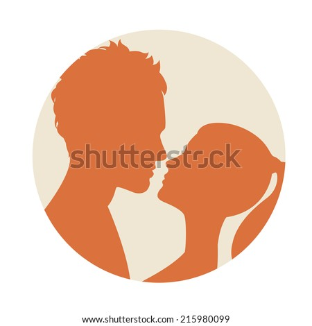 Vector illustration Flat style couple kissing - stock vector