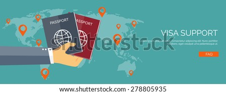 Vector illustration. Flat travel background. Tourism and visa support. Tour and trip. Summer holidays. Navigation. - stock vector