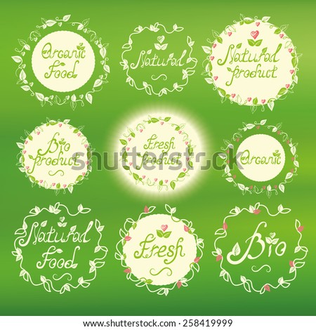 Vector illustration. Floral elements. Badges and labels elements set. Handwritten text.