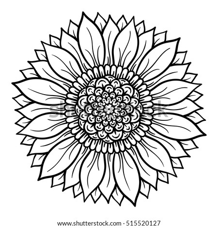 Vector Illustration Flower Mandala Coloring Page Stock