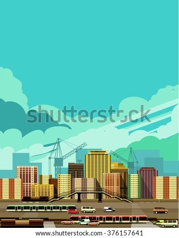 vector illustration fluorescent image of the city with high-rise buildings and moving vehicles, industrial part of the city