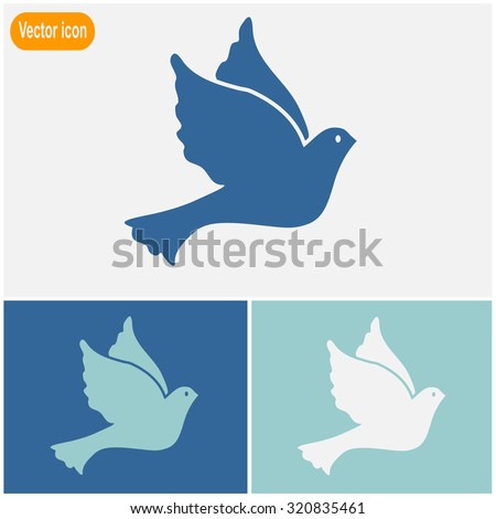 Vector illustration Flying dove for peace.