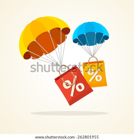 Vector illustration flying parachute with paper bag sale. Seasonal discounts autumn, winter. Flat Design - stock vector
