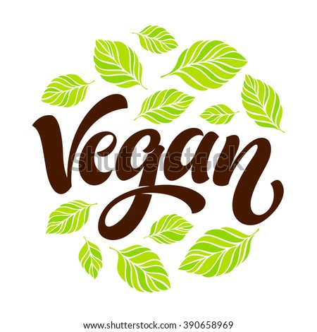 Vector illustration, food design. Handwritten lettering for restaurant, cafe menu. Vector elements for labels, logos, badges, stickers or icons. Calligraphic and typographic collection. Vegan menu - stock vector