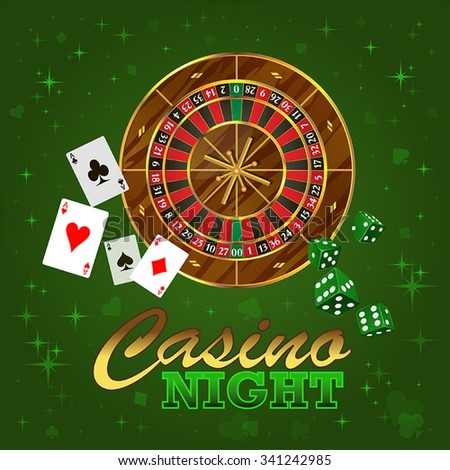 Vector illustration for a casino with roulette, cards, dice, glowing, bright sign, stars on a green background - stock vector