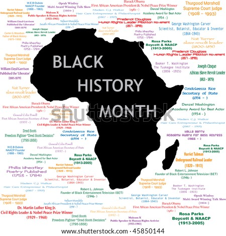 Vector Illustration for black history month including names, time periods and what each person did. See others in this series. Makes a great poster large print. - stock vector