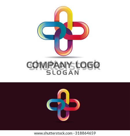 vector illustration for business logo cross-linked, template example of creative emblem for the brand - stock vector