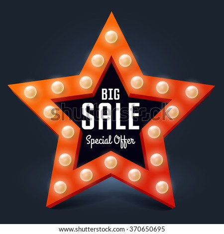 Vector illustration for business, star with light bulb and text Big Sale - stock vector