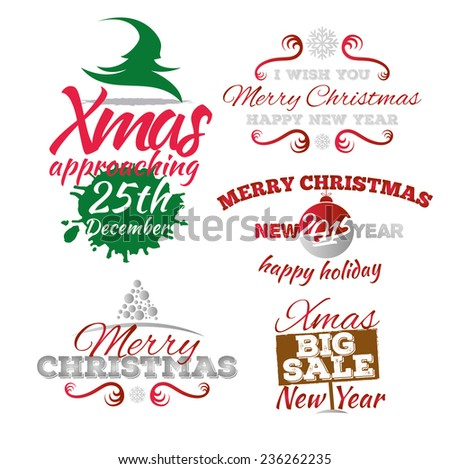 vector illustration for Christmas and New Year elements for use in the design, llettering , labels and badges