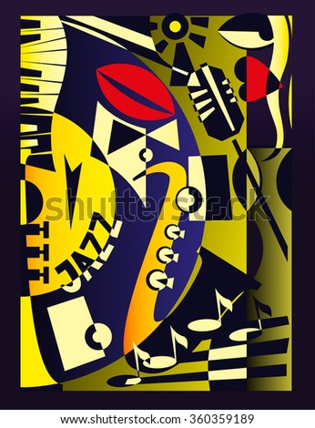 Vector illustration for design banner jazz music festival or concert in retro geometric abstraction style