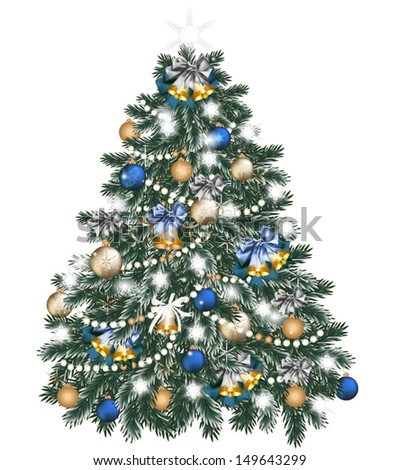 Vector illustration for design with realistic Christmas tree  - stock vector