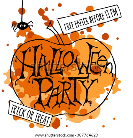 """Vector illustration for halloween party. Hand sketched pumpkin with words """"Halloween Party"""" on textured background. Template for party flyer or banner, design or print.  - stock vector"""