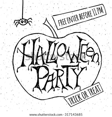 "Vector illustration for halloween party. Hand sketched pumpkin with words ""Halloween Party"" on textured background. Template for party banner, design or print.  - stock vector"