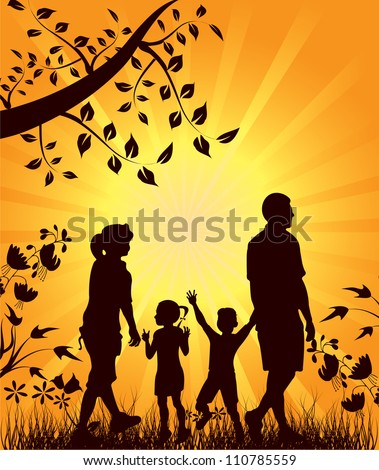 Vector illustration for Happy family walks in nature at sunset - stock vector