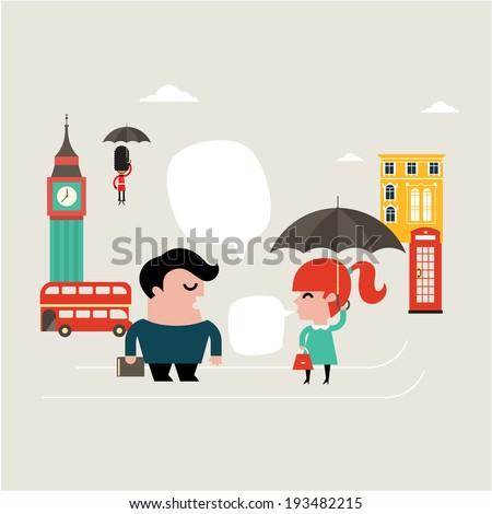 Vector Illustration for learning english language flat style - stock vector