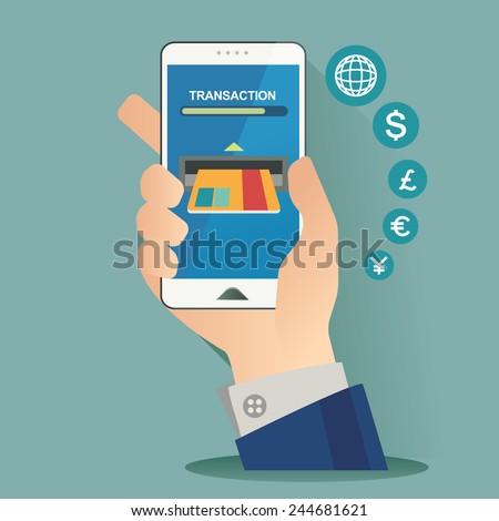 vector illustration for money transaction, technology, business, mobile banking - stock vector