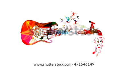 Vector illustration for music inspires concept combining colorful guitar with water tap dripping music notes, collected from various elements of flower ornament and decorated with hummingbirds