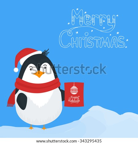 Vector illustration for retro christmas card. Snow landscape background with penguin