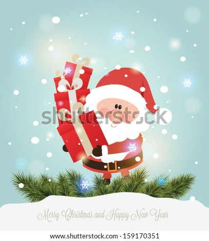 Vector illustration for retro christmas card. Snow landscape background with santa claus. - stock vector