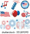 Vector Illustration for the 4th of July Independence. Set of Icons and Buttons. - stock vector