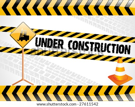 vector illustration for under construction with isolated traffic-cone - stock vector