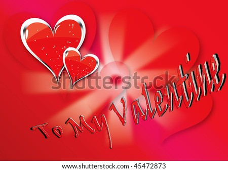 Vector illustration for Valentine's day with red hearts