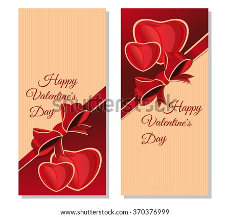 Vector illustration for Valentines Day. Set banners with congratulatory inscription. Happy Valentine's Day. Vintage greeting cards for Valentine's Day. - stock vector