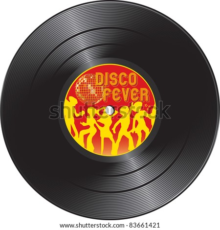 Vector illustration for Vinyl record with disco fever isolated on a white background - stock vector