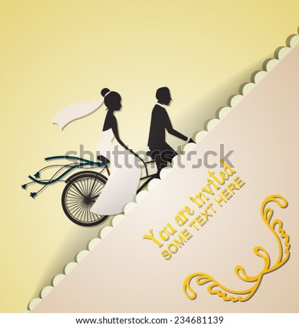 Vector illustration for wedding with wedding bike