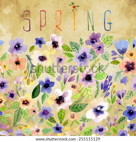 Vector illustration for Woman's Day and different holidays. Cute summer and spring card. Floral pattern with watercolor flowers on the vintage background. Isolated pansy  - stock vector