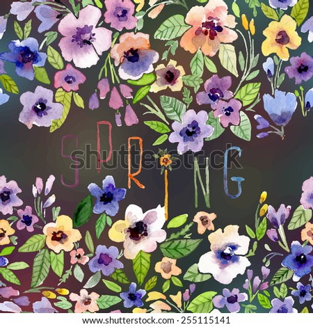 Vector illustration for Woman's Day and different holidays. Cute summer and spring card. Floral pattern with watercolor flowers on the blurred background. Isolated pansy - stock vector